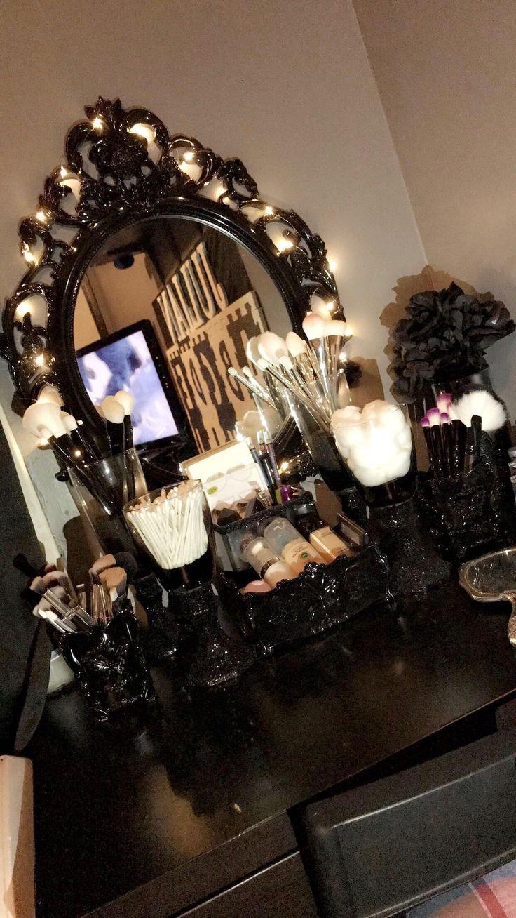 My DIY vanity  my favorite project yet ! Love it ! This is my take on a dark/gothic feel vanity Dark vanity .. DIY vanity .. IKEA Micke desk vanity .. baroque mirror .. vanity mirror with lights ..