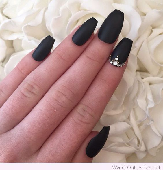 Matte black nails with diamonds