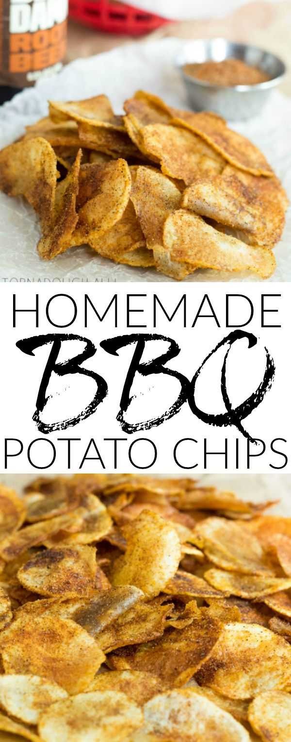 Homemade BBQ Potato Chips are a super simple, super tasty snack, side dish or addition to any outdoor get together!