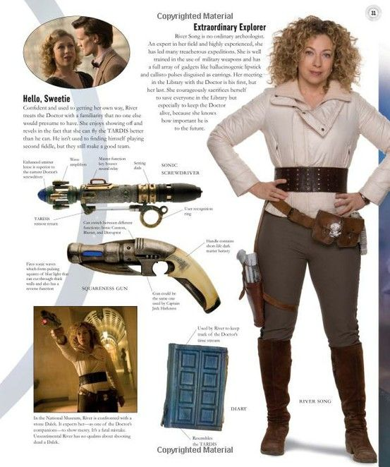 Doctor Who Cosplay and Costuming - River Song Breakdown  Probably will be useful...