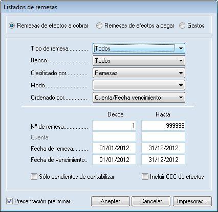 Listado de remesa de efectos al cobro del programa ERP Gextor Financiero (contabilidad) con tesorería.