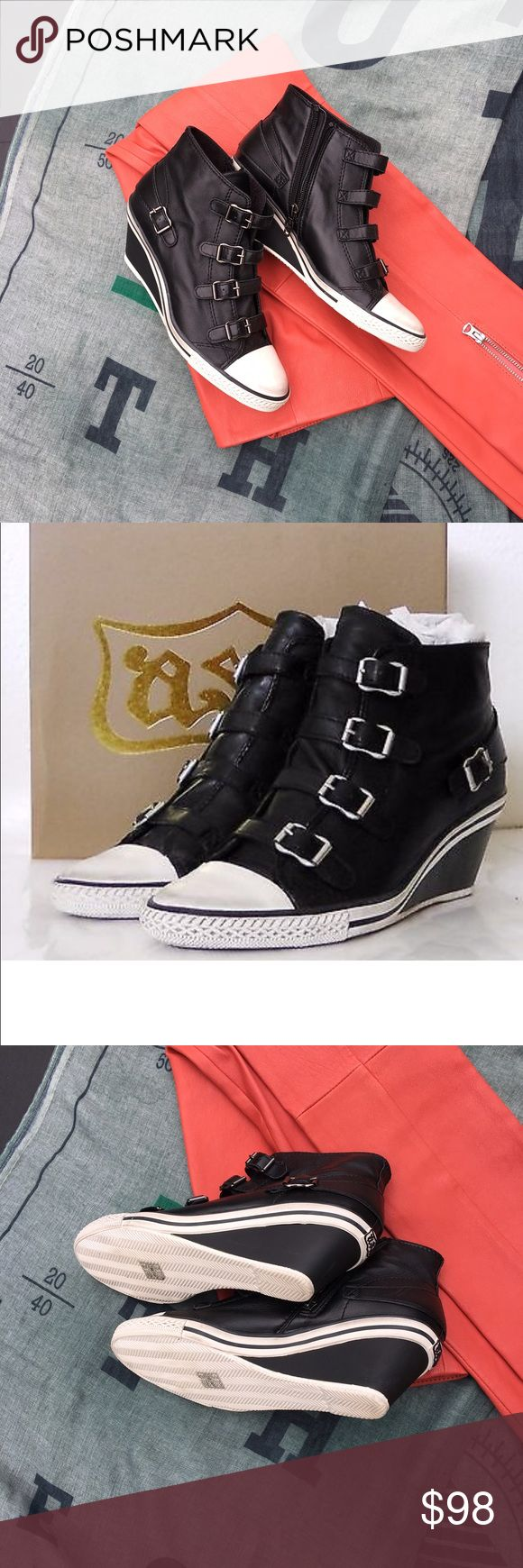 ASH Genial Black Wedges ASH Genial Woman's Wedges Sneakers Black Leather. Like new. Size: 40 Ash Shoes Wedges