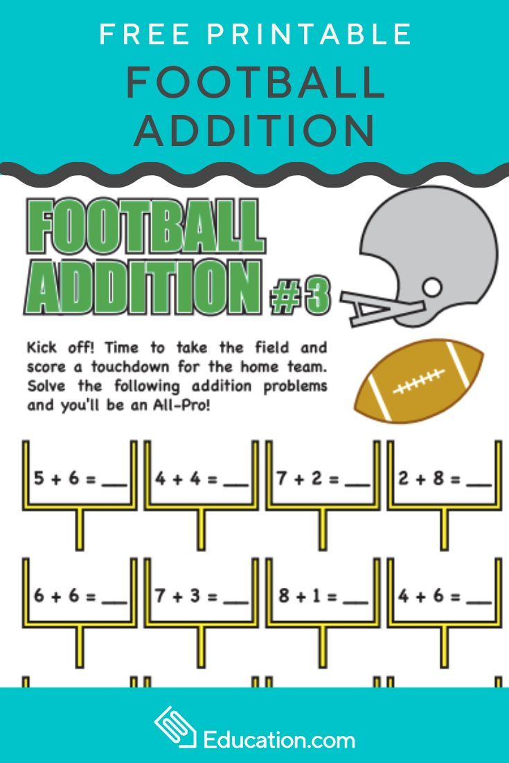 Football Addition 3 Worksheet Education Com Math Facts Elementary Reading Addition Practice [ 1102 x 735 Pixel ]