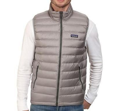 New Patagonia Mens 800 Fill Down Sweater Puffer Vest Ski Feather Grey S Silver