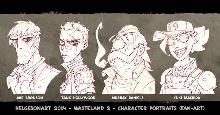 Wasteland 2 - Character Portraits Set 01 - Lineart, Johannes Helgeson on ArtStation at http://www.artstation.com/artwork/wasteland-2-character-portraits-set-01-lineart