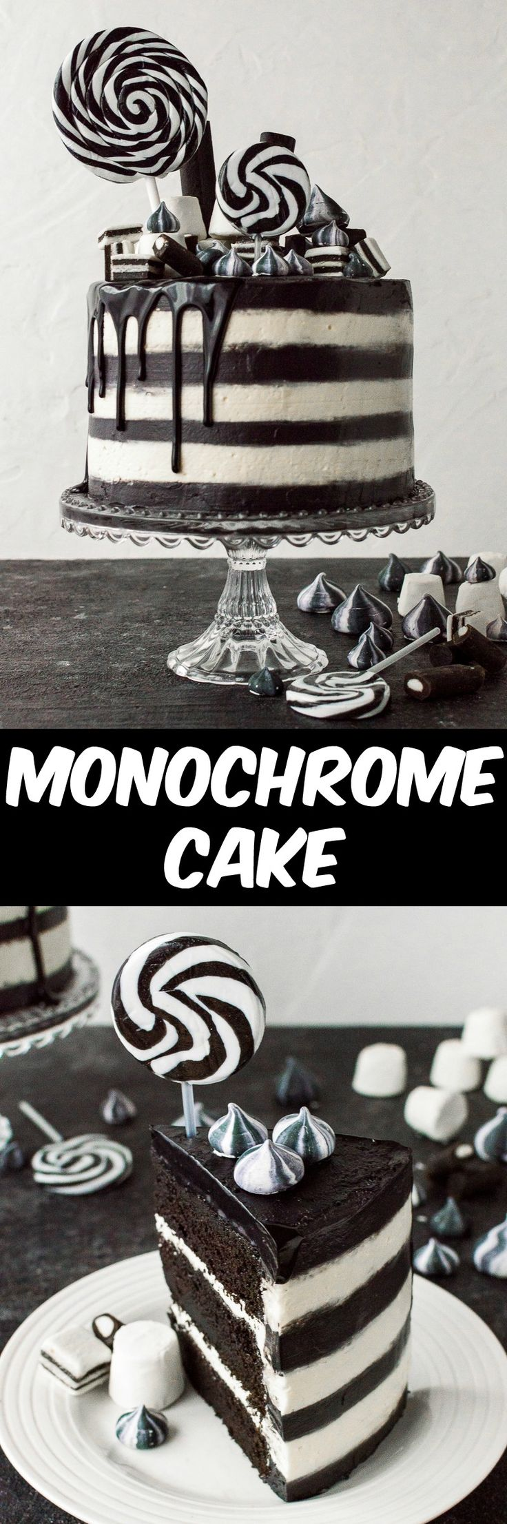 Monochrome cake (aka Beetlejuice cake) - a stylish black and white stripy chocolate and vanilla cake. Perfect for a classy Halloween party.