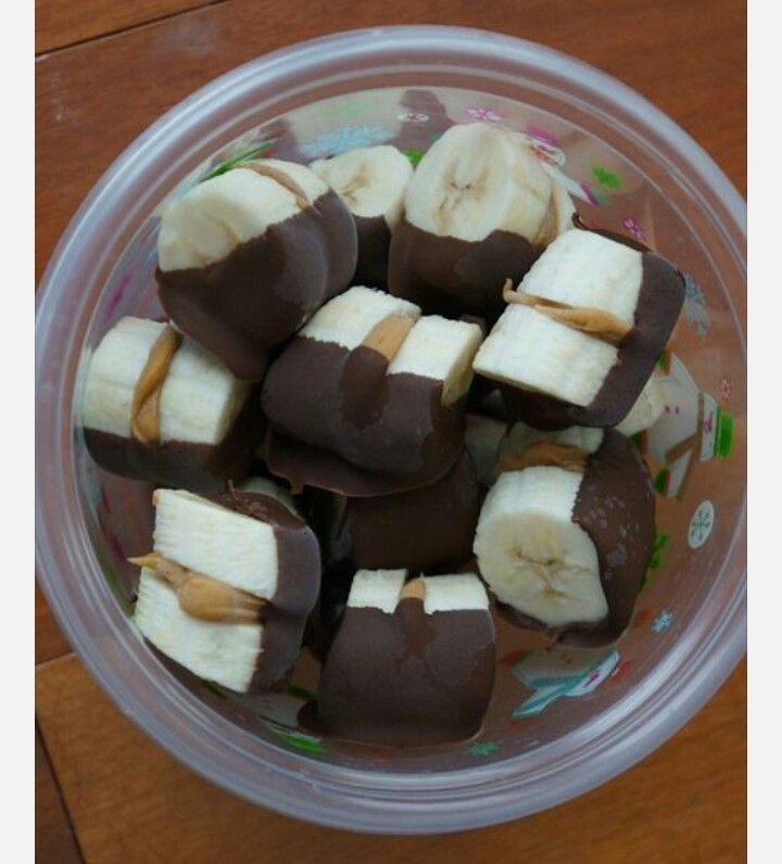 Frozen Banana, Peanut Butter and Chocolate bites