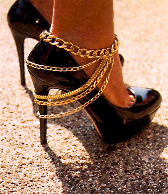 Sexy Statement High Heel Chain Anklet Bodychain Body Chain Jewelry Heel Layer Curb Metal Gold Silver Ankle Bracelet