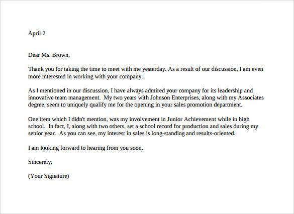 thank you letter after job interview download free documents accounting for