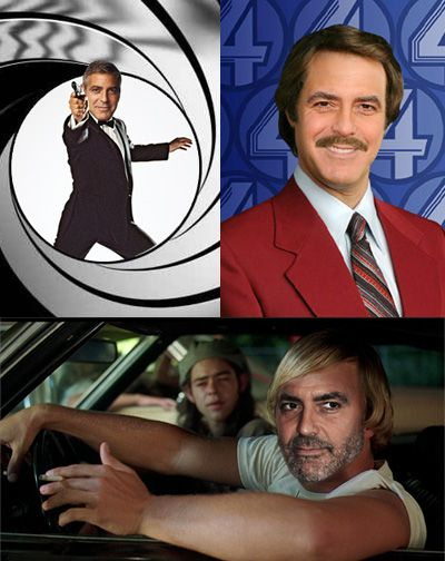 What movie character is George Clooney's real life most like?  1. James Bond  2. Ron Burgandy (Anchorman)  3. David Wooderson (played by Matthew McConaughey in Dazed and Confused)  www.AwardFantasy.com