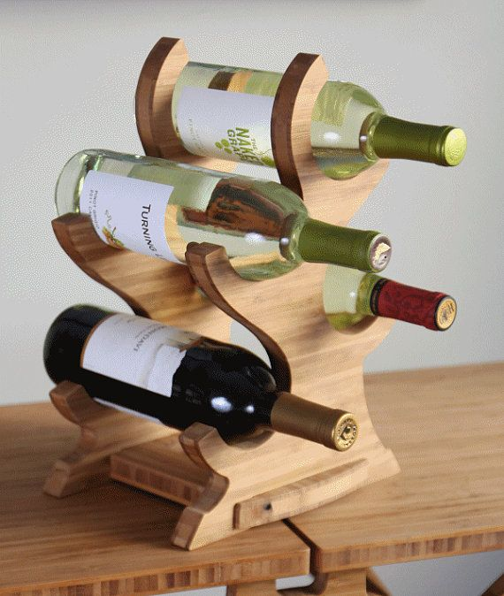 Wine Tree 4 bottle wine rack por BrydonDesign en Etsy, $37.00