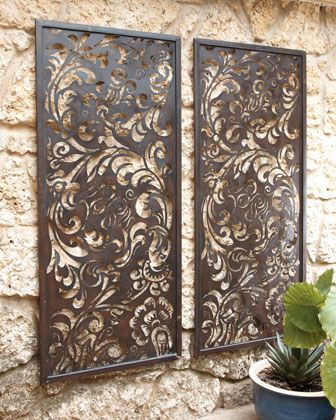 pretty laser-cut metal wall decor like this but in white - ?use to screen of wardrobe