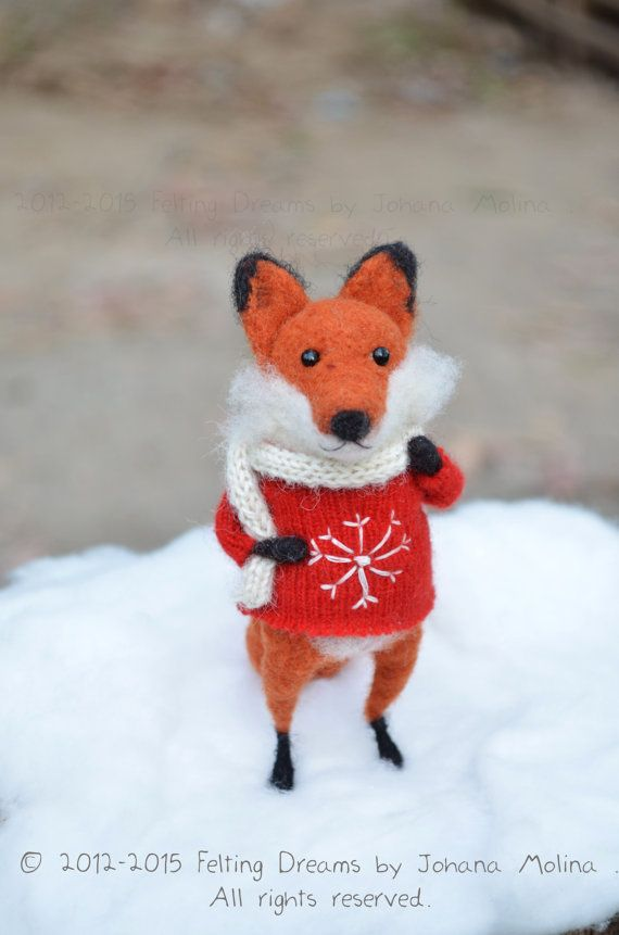 Little Christmas Foxy - Christmas-Winter Seasonal Ornament- Felting Dreams - READY TO SHIP