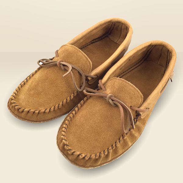 Men's Suede Moccasin Slippers w Leather Sole - Dark Tan & Cork - 78DT-C