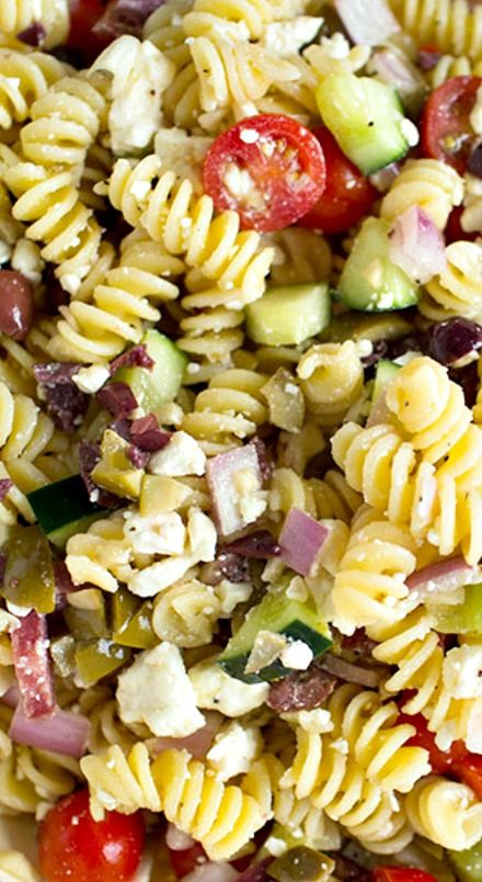 Mediterranean Pasta Salad Recipe. I left out the salami and olives. Was a hit with AJ's family.
