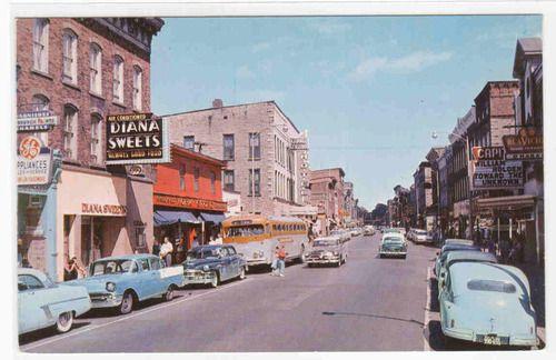 Main Street Cars Bus Brockville Ontario Canada 1968 postcard