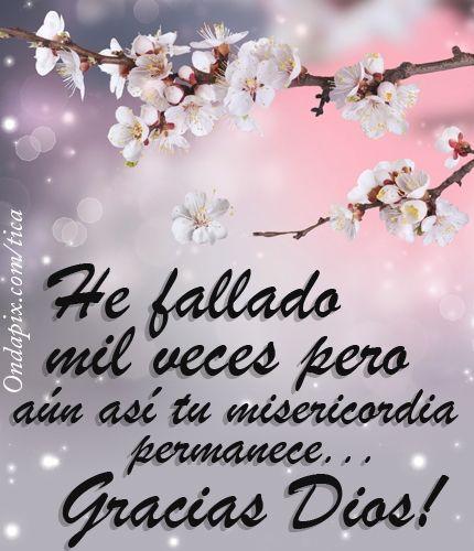He fallado mil veces, pero aún así tu misericordia permanece... Gracias Dios!