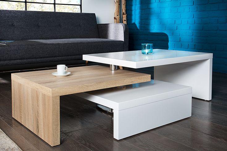 Funktioneller Design Couchtisch HIGHCLASS Hochglanz weiß Sonoma Eiche Tisch