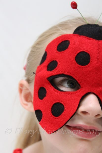 Picture of Kids Animal Mask Patterns. Lieveheersbeestje masker diy #verkleedkist