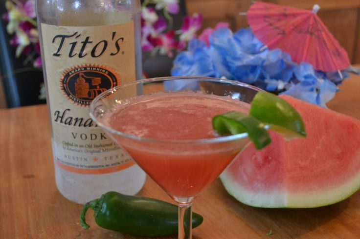 watermelon jalapeno martini with titos vodka. In honor of my friend, French Dip.