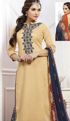 Beautiful Latest Peach Chanderi Cotton Pakistani Suit