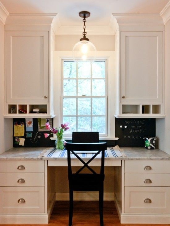 I soooo want this desk area in my kitchen!!