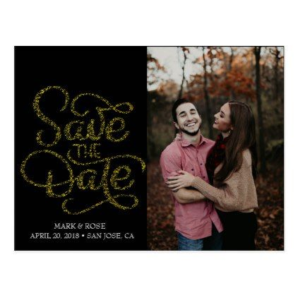 Save The Date Gold Script Lettering Postcard Engagement Gifts