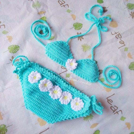 Daisy beach bikiniCrochet baby bikiniswimsuitbaby por EarnCrochet