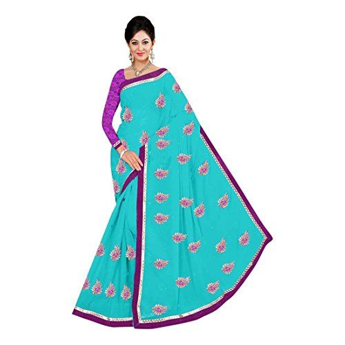 Blue Indian Handicrfats Export Printed Daily Wear Georgette Saree