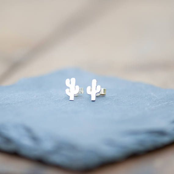 Sterling silver cactus earrings, hand sawn. Profits donated to the Wilderness Society to help protect our great outdoors.
