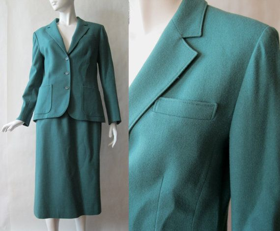 Vintage Pendleton wool skirt suit, deep heather moss green, with notched collar and patch hip pockets, medium / large (10-12)
