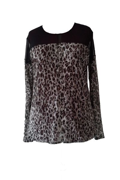 Plus size animal print & mesh long sleeve top www.curv8ious.com