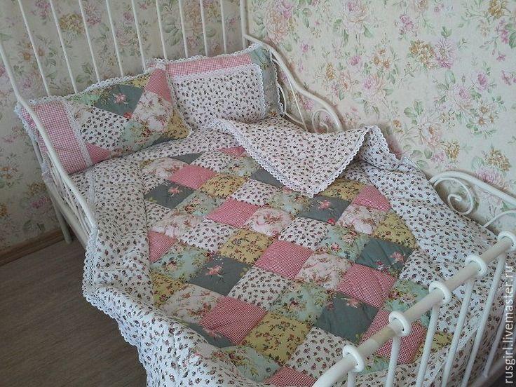 """Купить """"Миланья"""" одеяло для девочки. Комплект с подушками - белый, кантри шебби деревенский, кантри стиль"""