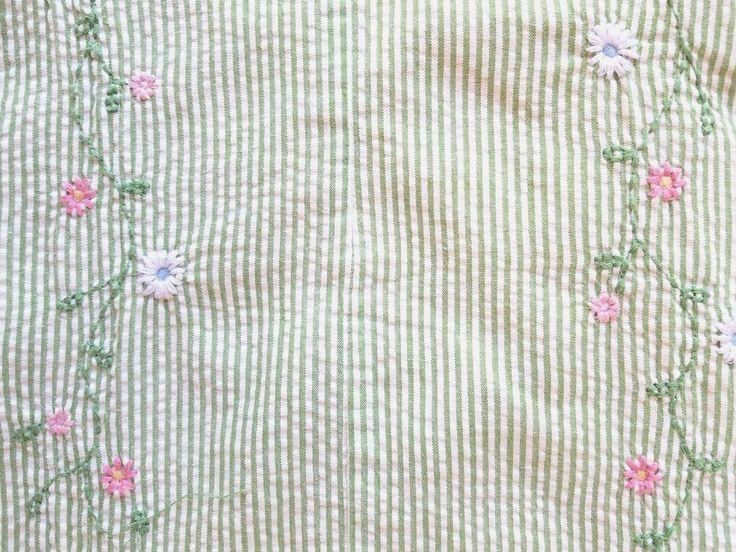 Pottery Barn Kids Twin Duvet Seersucker Embroidery Girls Green Pink Cotton #PotteryBarn