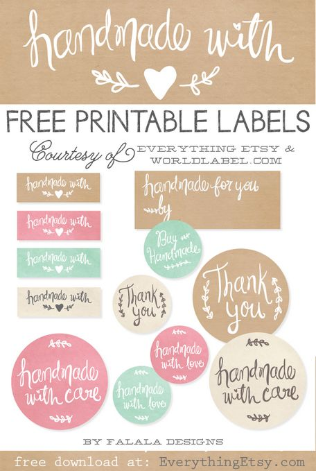 Free Printable Handmade Gift Labels from Everything Etsy