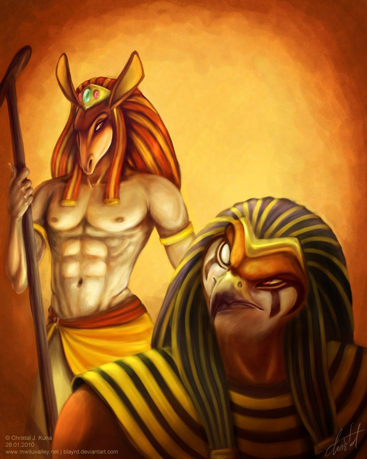 Set and Horus    The most legendary rivalry in all of Egyptian myth and legend. It is chaos vs. order, the egyptian state vs. foreign invasion, good vs. evil, etc. etc.