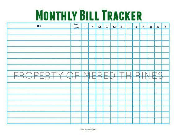 Bill Tracker Printable Monthly Horizontal Bill Tracker