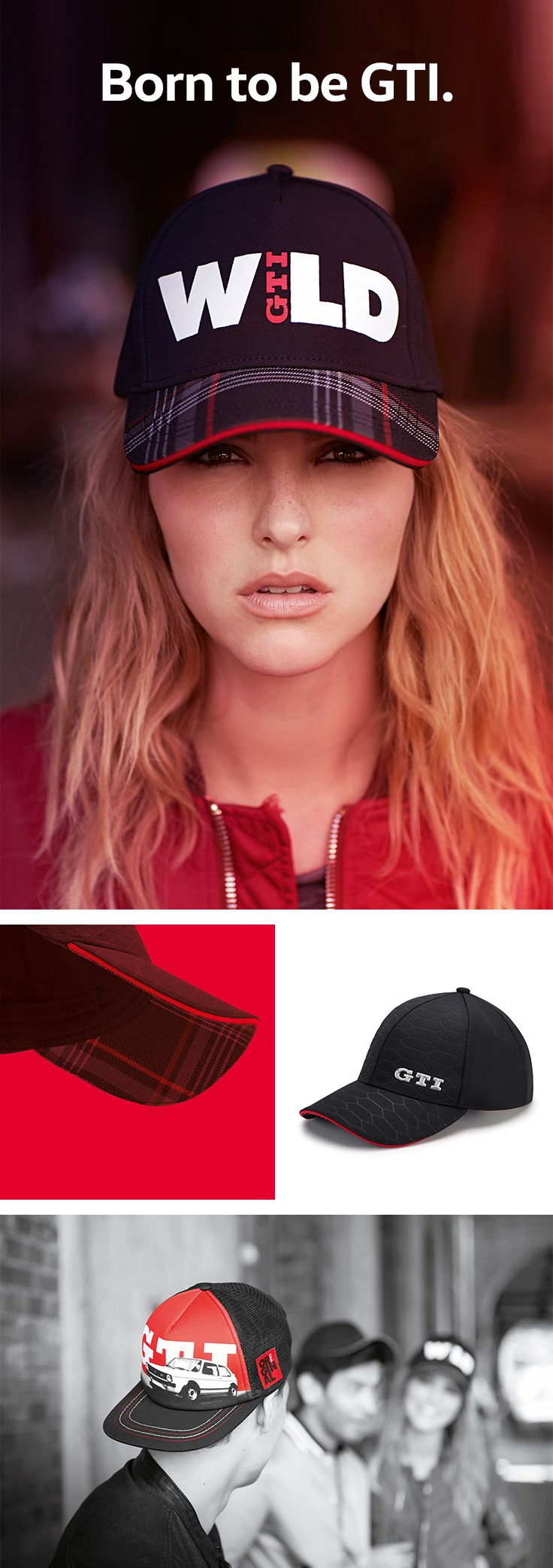 GTI is a synonym for passion and a dynamic lifestyle. These stylish GTI baseball caps feature the iconic three letters in different designs. (Shipping within Germany, international purchase via Volkswagen dealership.)