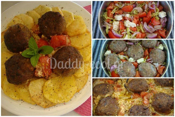 Μπιφτέκια μαγειρεμένα μαζί με τη χωριατίκή σαλάτα στο ταψι!Φανταστικο πιάτο