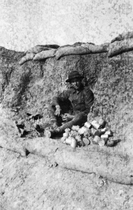New Zealand soldier fusing jam tin bombs, Gallipoli, Turkey