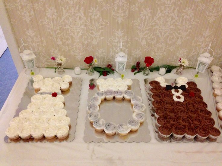 Jack and Jill wedding shower cupcakes