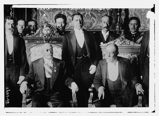 Photo shows Mexican military officer Jose Victoriano Huerta Marquez (1850-1916) who was president of Mexico from 1913-1914, with his cabinet.