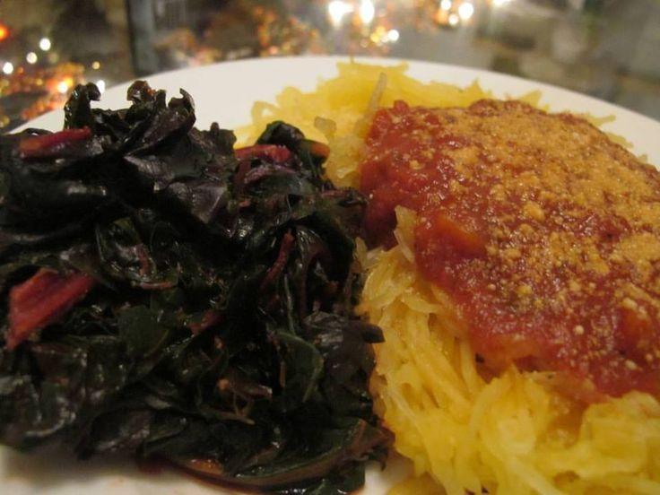 beloved spaghetti squash with marinara and sweet & smoky sauteed chard ...