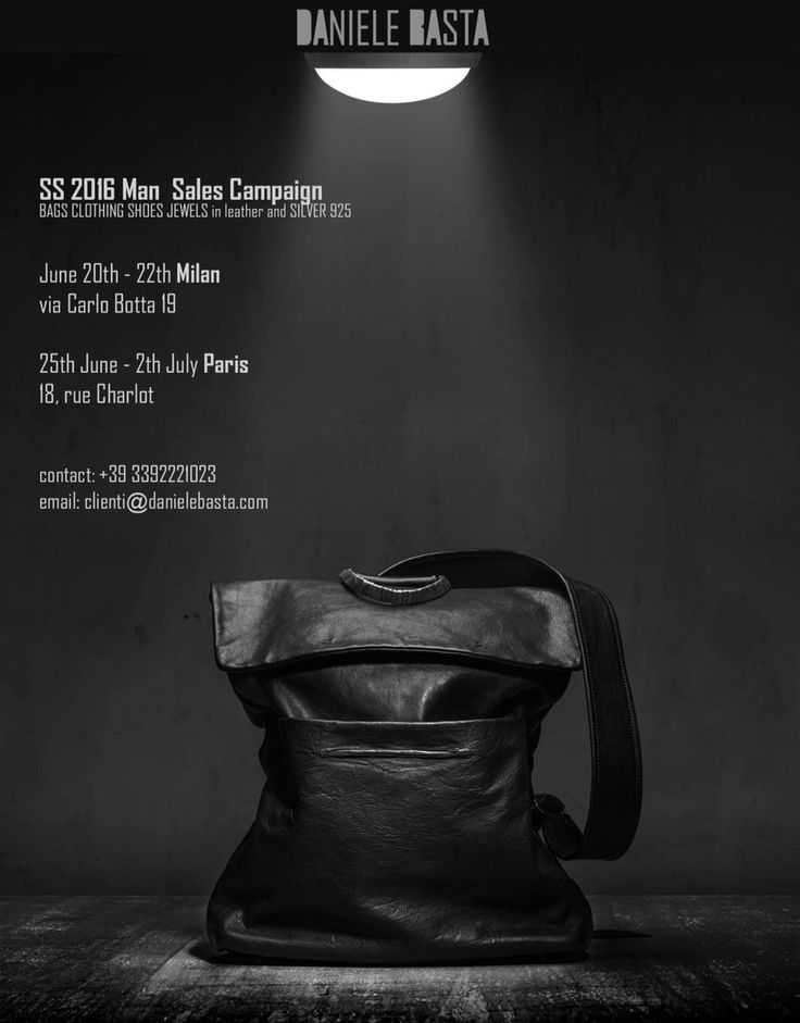 DANIELE BASTA Bag in leather and silve 925 - Man Sales Campaign SS16