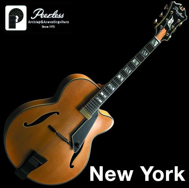 "Peerless New York Full Hollow Body Carved Jazz Electric Guitar Natural 17"" OHSC #Peerless"