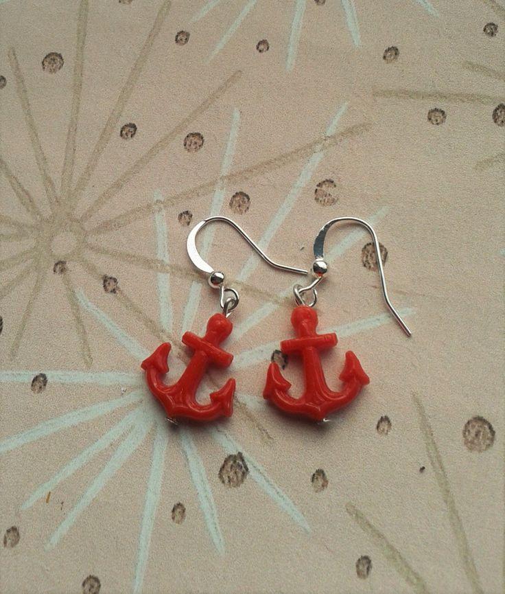 Anchor Earrings,Rockabilly Anchor Earrings,Pin Up Earrings,Novelty Jewelry,Retro Nautical Earrings,50's Inspired Earrings,Sailor Earrings by RosieMays on Etsy