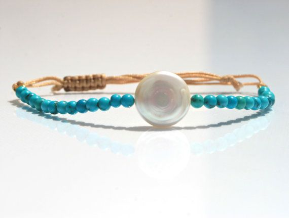 Friendship bracelet coin pearl turquoise beads by marysartjewelry, $25.00
