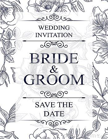Wedding invitation card with blue flowers, and dividers, ideal for weddings