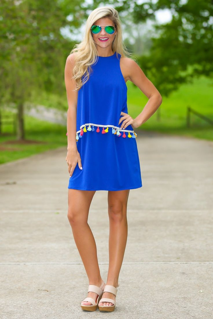 Judith March Miles From Nowhere Blue Tassel Dress at reddressboutique.com