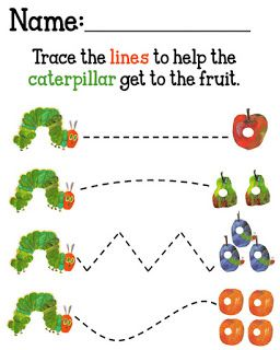 Fun Very Hungry Caterpillar activity. Great for fine motor skills.